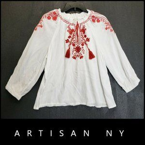 Artisan NY Women's Boho Tassel Blouse Medium White